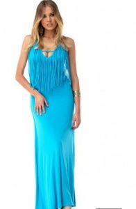 Turquoise fringe maxi dress